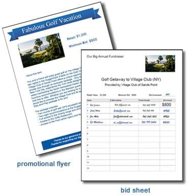 travelpledge free bid sheet tool for silent auctions